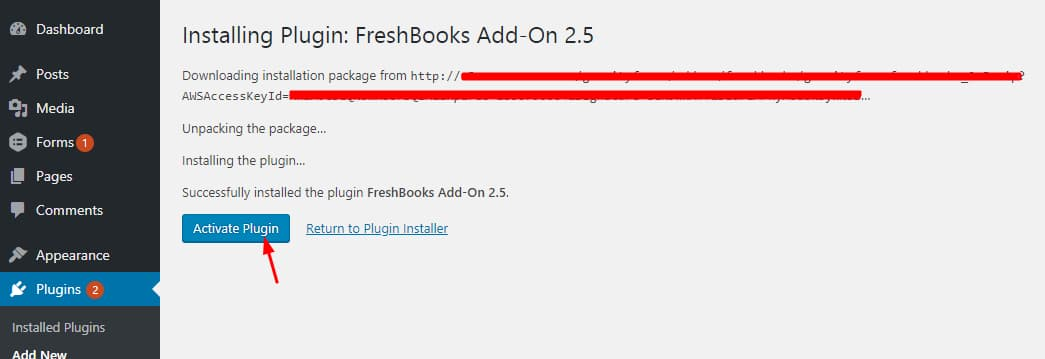 activate freshbooks addon