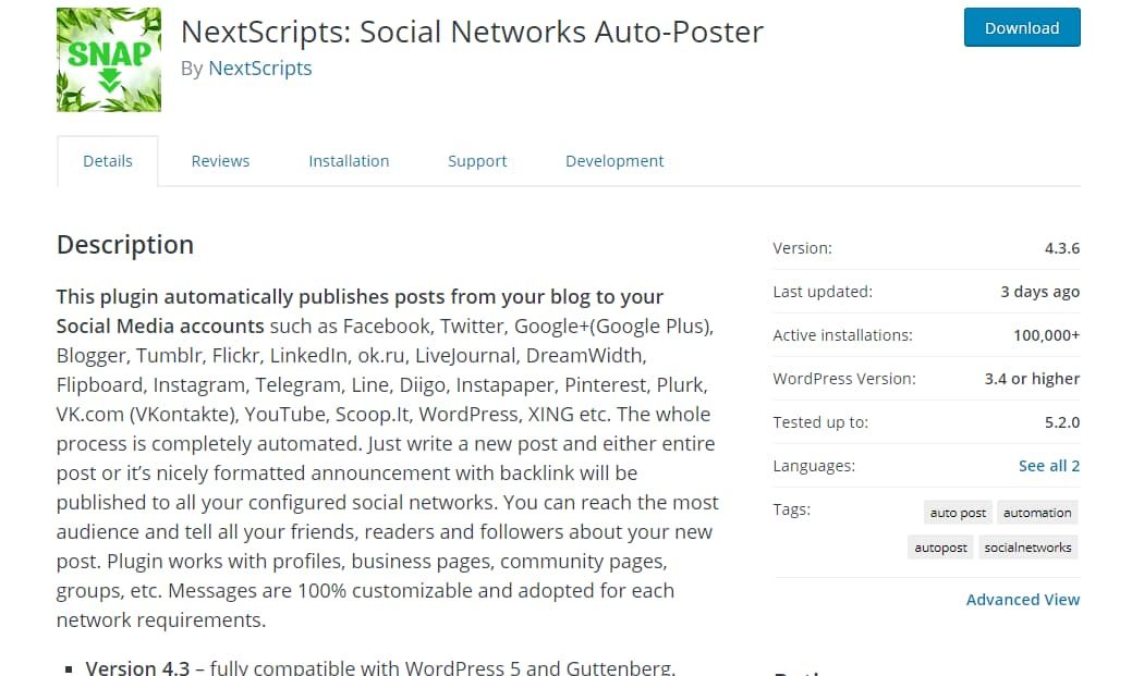 nextscripts - social networks auto poster wordpress plugin