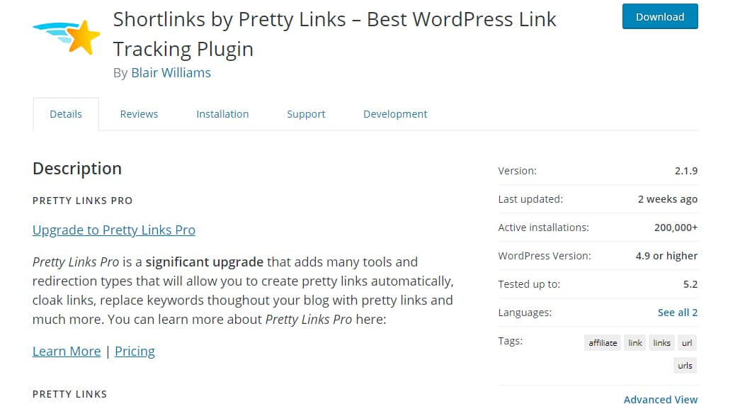 pretty links wordpress link cloaking plugin