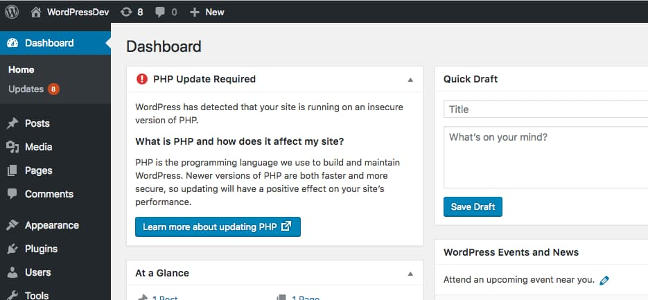 wordpress php update required notice