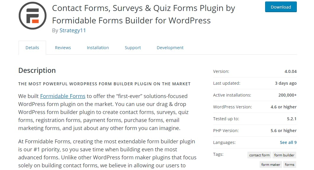 Contact Forms, Surveys and Quiz Forms Plugin by Formidable Forms Builder for WordPress