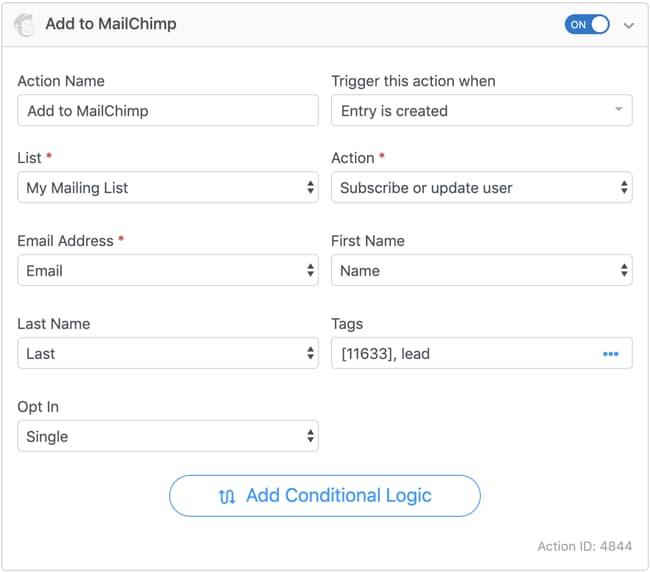 formidable forms mailchimp form actions configuration