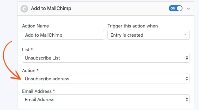 mailchimp unsubscribe form action in formidable forms pro