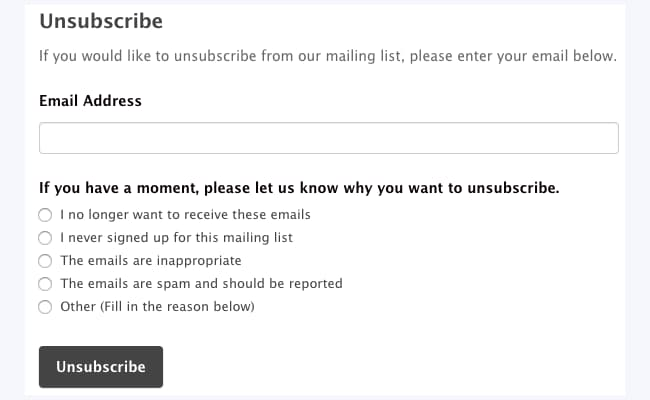 mailchimp unsubscribe form