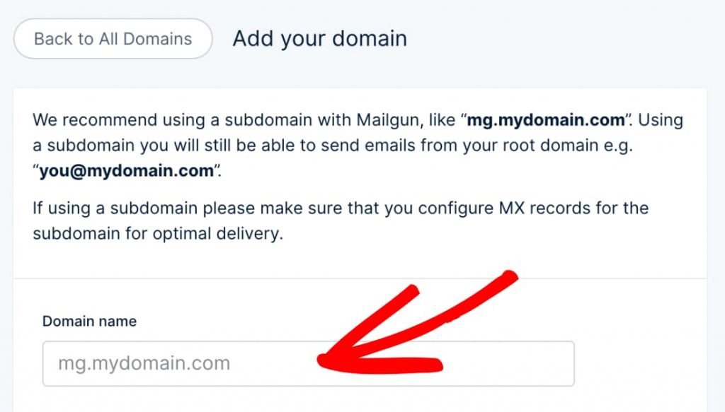 mailgun subdomain for sending emails