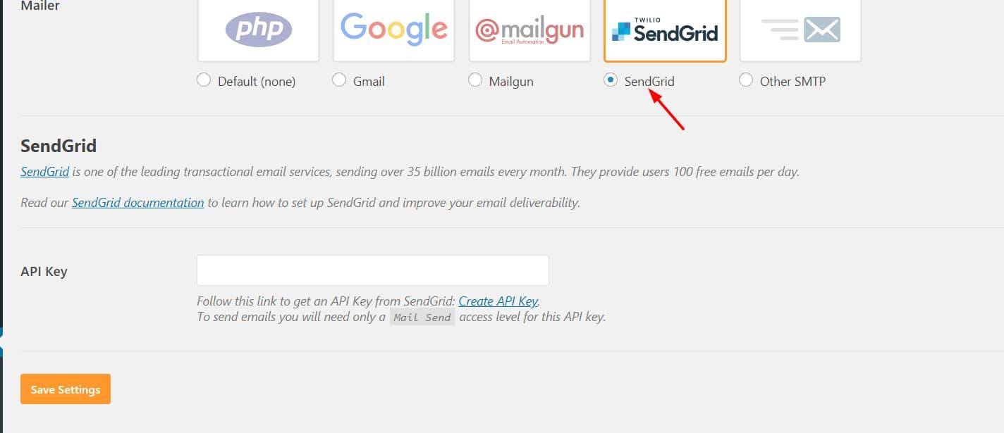 sendgrid smtp server configuration