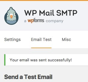 wp mail smtp test email success message