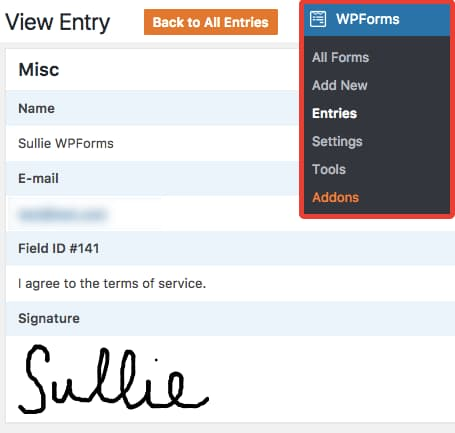 wpforms signature addon - signed document form entry