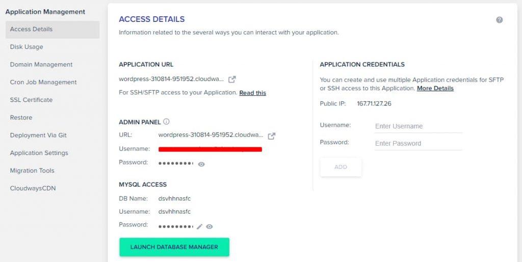 Cloudways WordPress Admin Dashboard Link URL