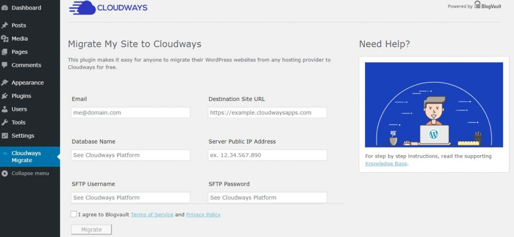 BlogVault Migrator - Migrate Site To Cloudways