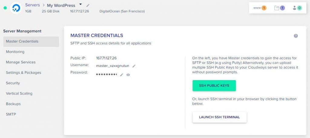 Cloudways SFTP & SSH master credentials