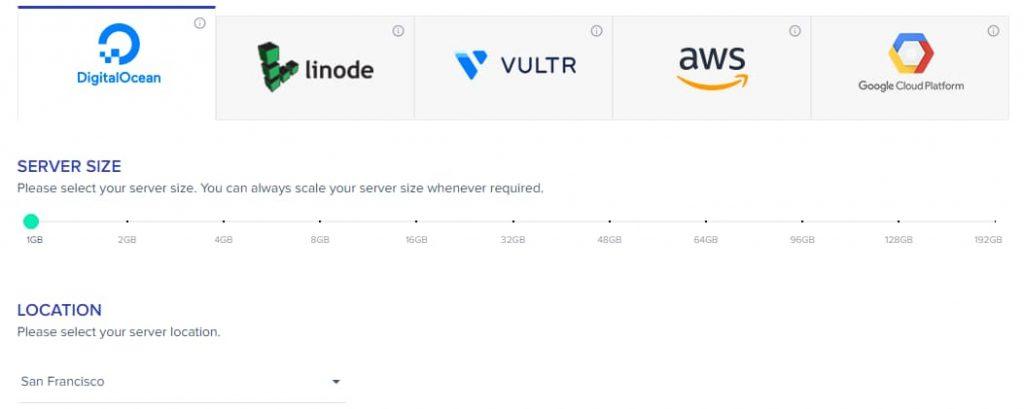 Choose Server Size - Cloudways Digital Ocean Server