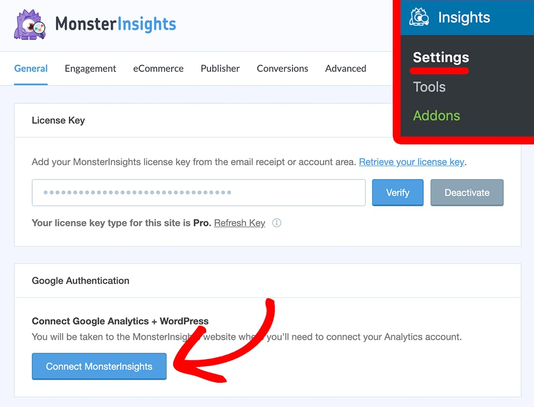 connect monsterinsights to ga