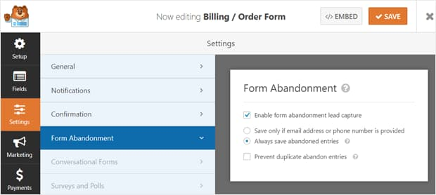 enable form abandonment lead capture wpforms