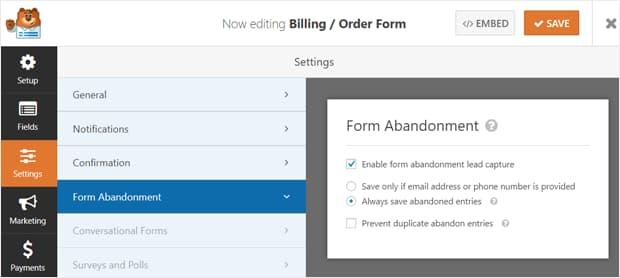 enable form abandonment lead capture wpforms
