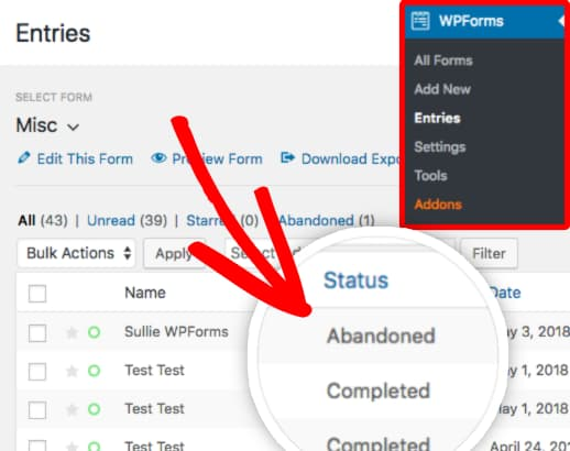 entry status for abandoned and completed forms wpforms