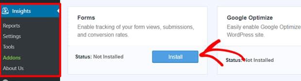 install monsterinsights forms addon