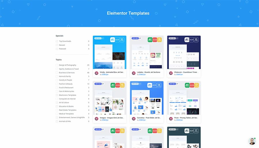 jetelements addons and elementor templates for elementor wordpress page builder plugin