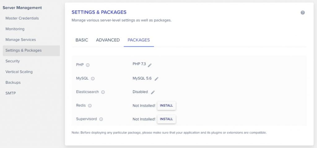 Manage Settings and Packages In Cloudways