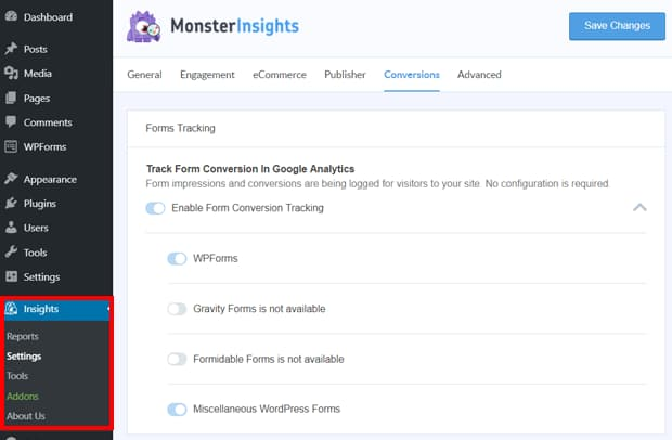 monsterinsights forms tracking settings