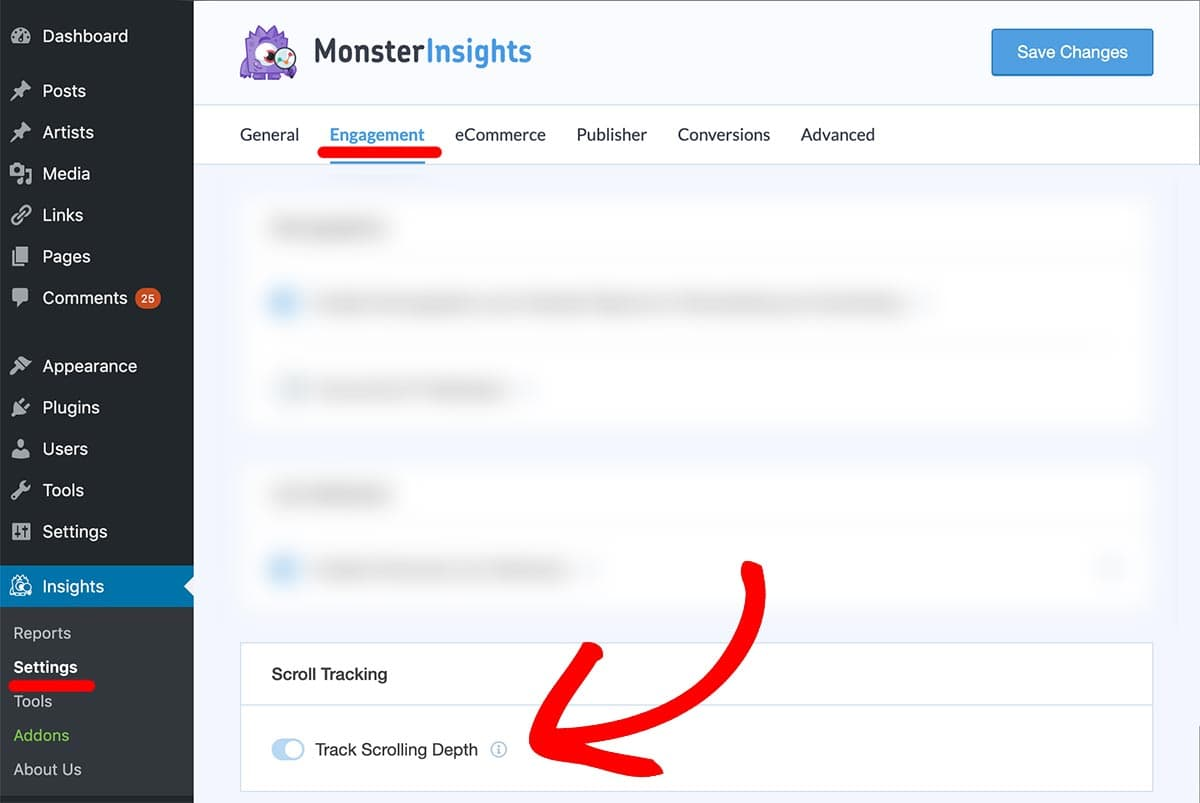 monsterinsights scroll tracking settings