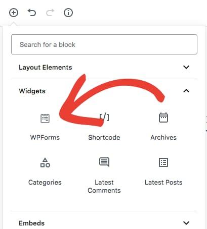 select wpforms block in gutenberg editor