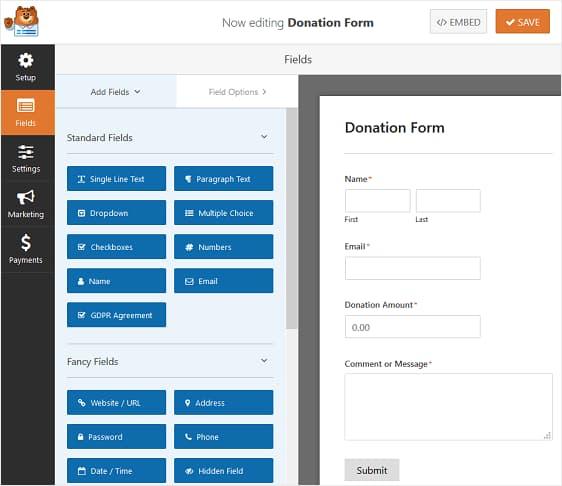 create a donation form using wpforms