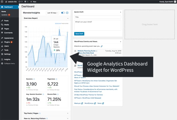 google analytics dashboard widget for wordpress