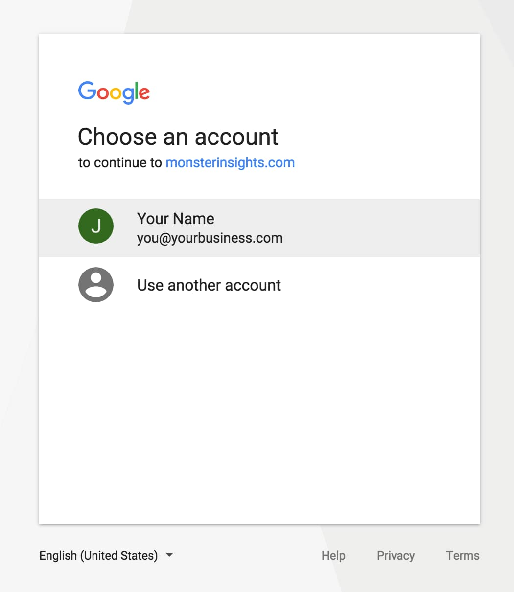 choose google account to connect with monsterinsights