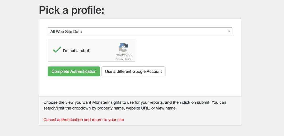 choose your google analytics property to integrate with monsterinsights