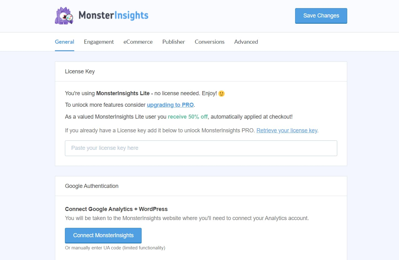 monsterinsights plugin settings and configuration page