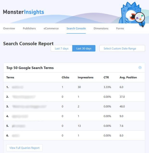 monsterinsights google search console reports