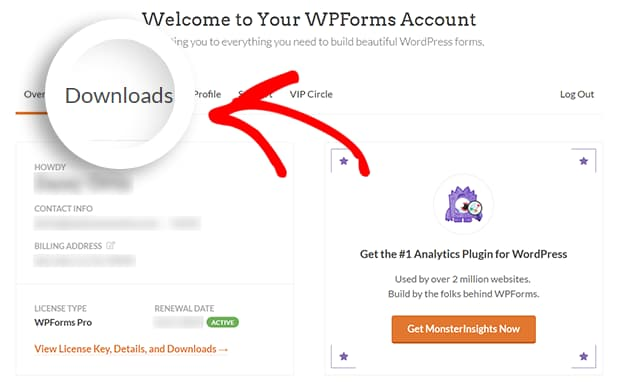 wpforms account downloads tab