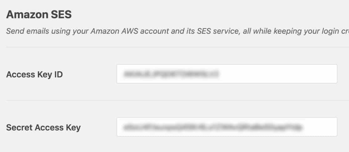 add access keys for amazon ses in wp mail smtp plugin