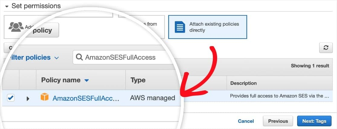 add amazonsesfullaccess policy to iam user account