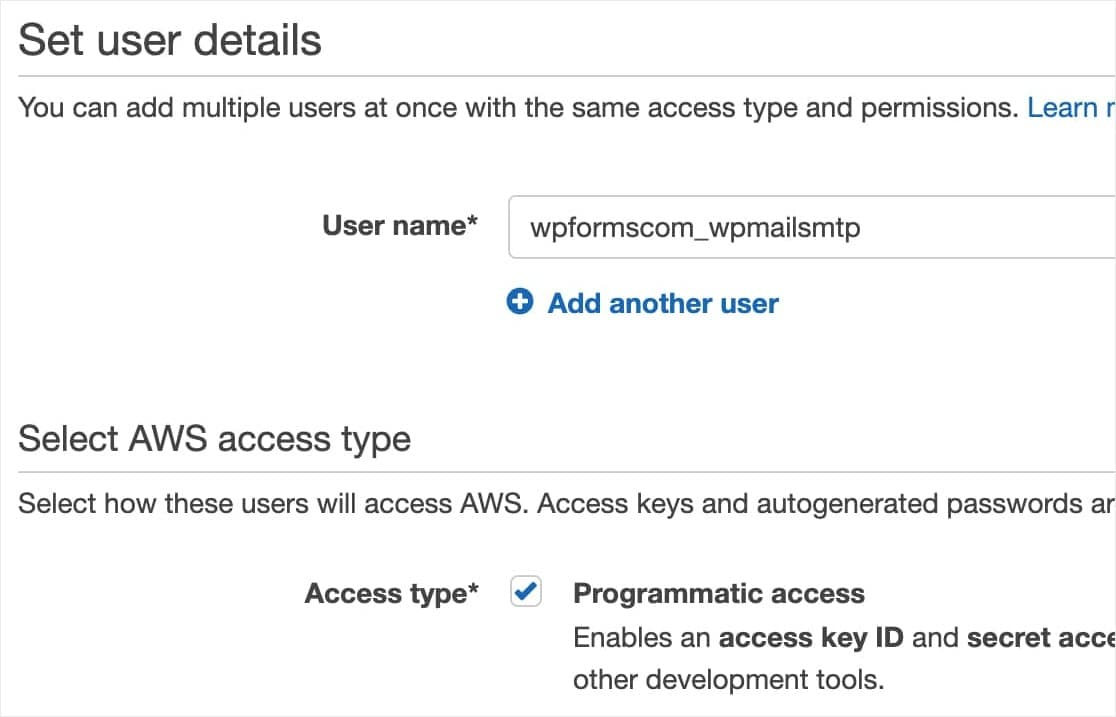 add new iam user and set access type in amazon aws