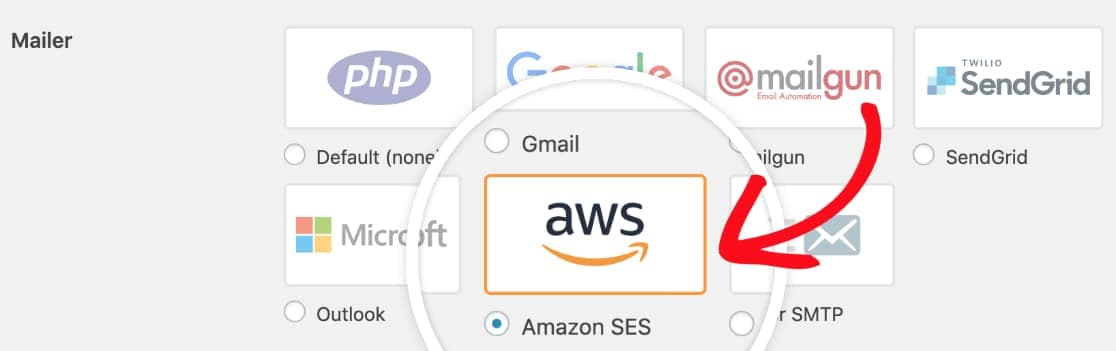 choose amazon ses mailer in wp mail smtp plugin