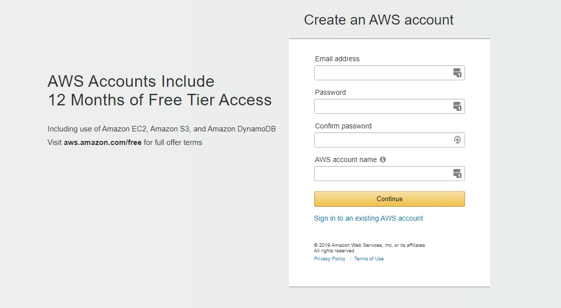create an account on amazon web services aws free tier