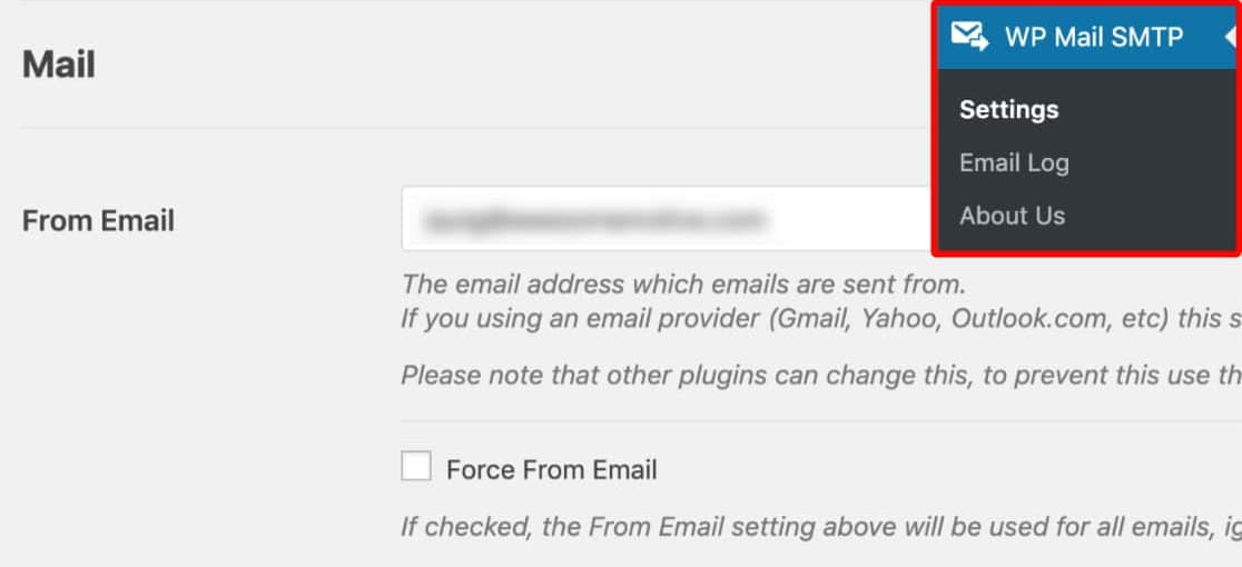 WordPress SMTP from email and from name settings