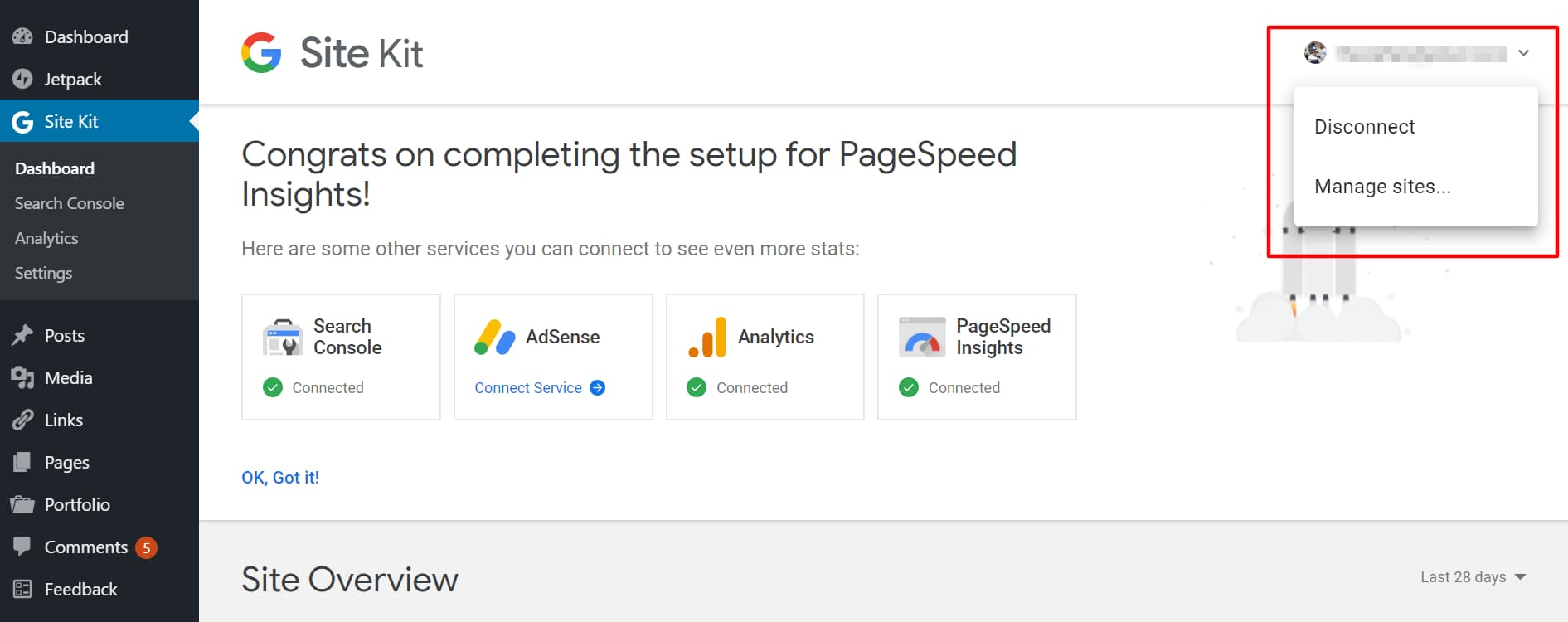 disconnect site kit from google and manage sites