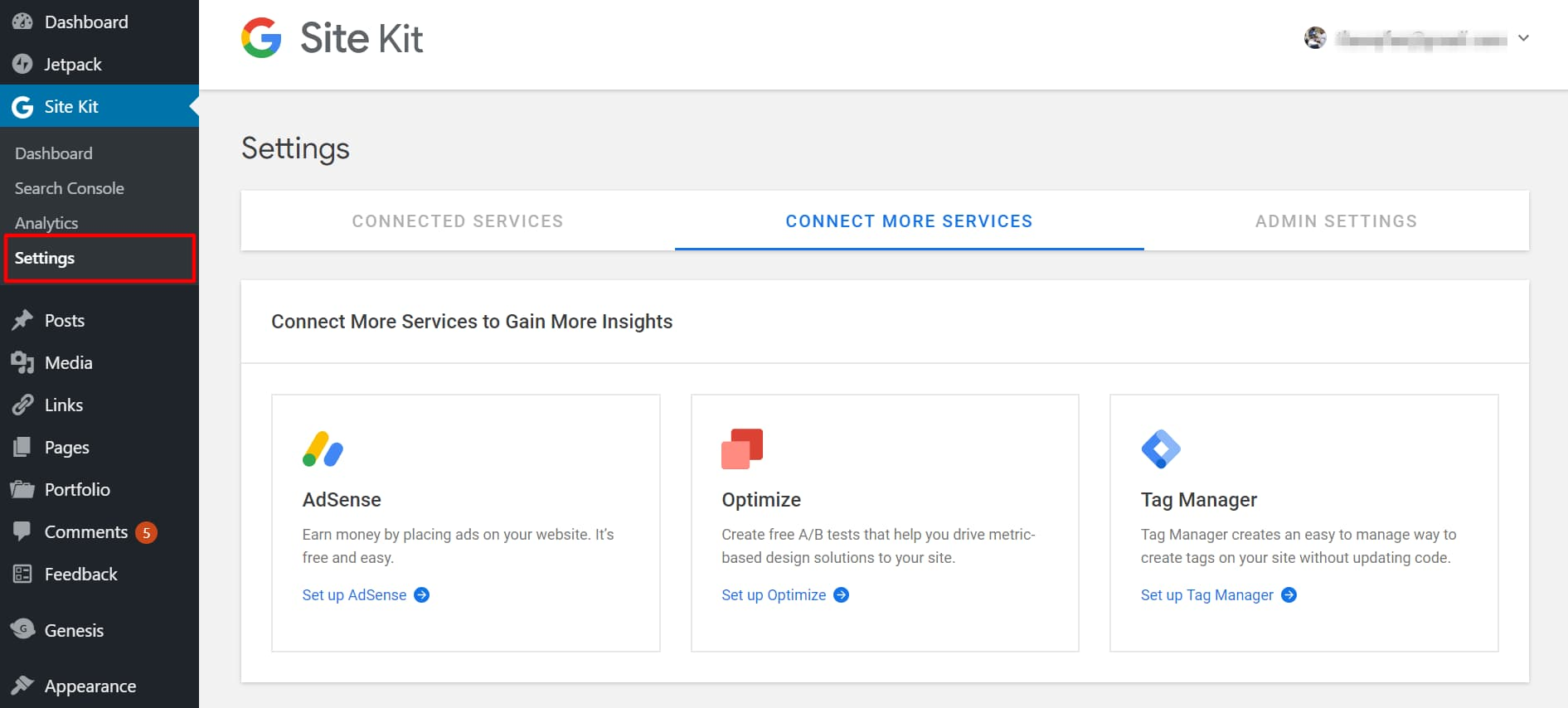 google site kit settings page