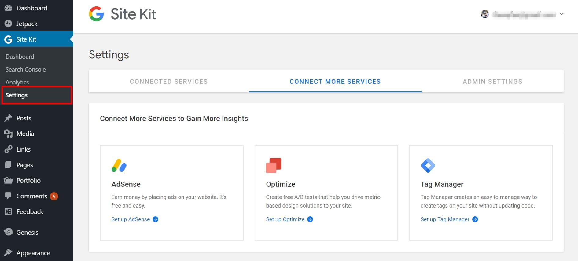 google site kit settings page