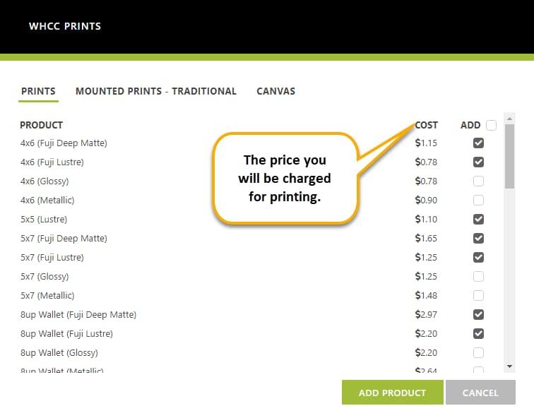 imagely nextgen pro whcc print options