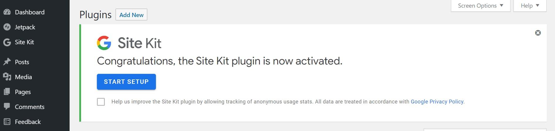 start google site kit set up