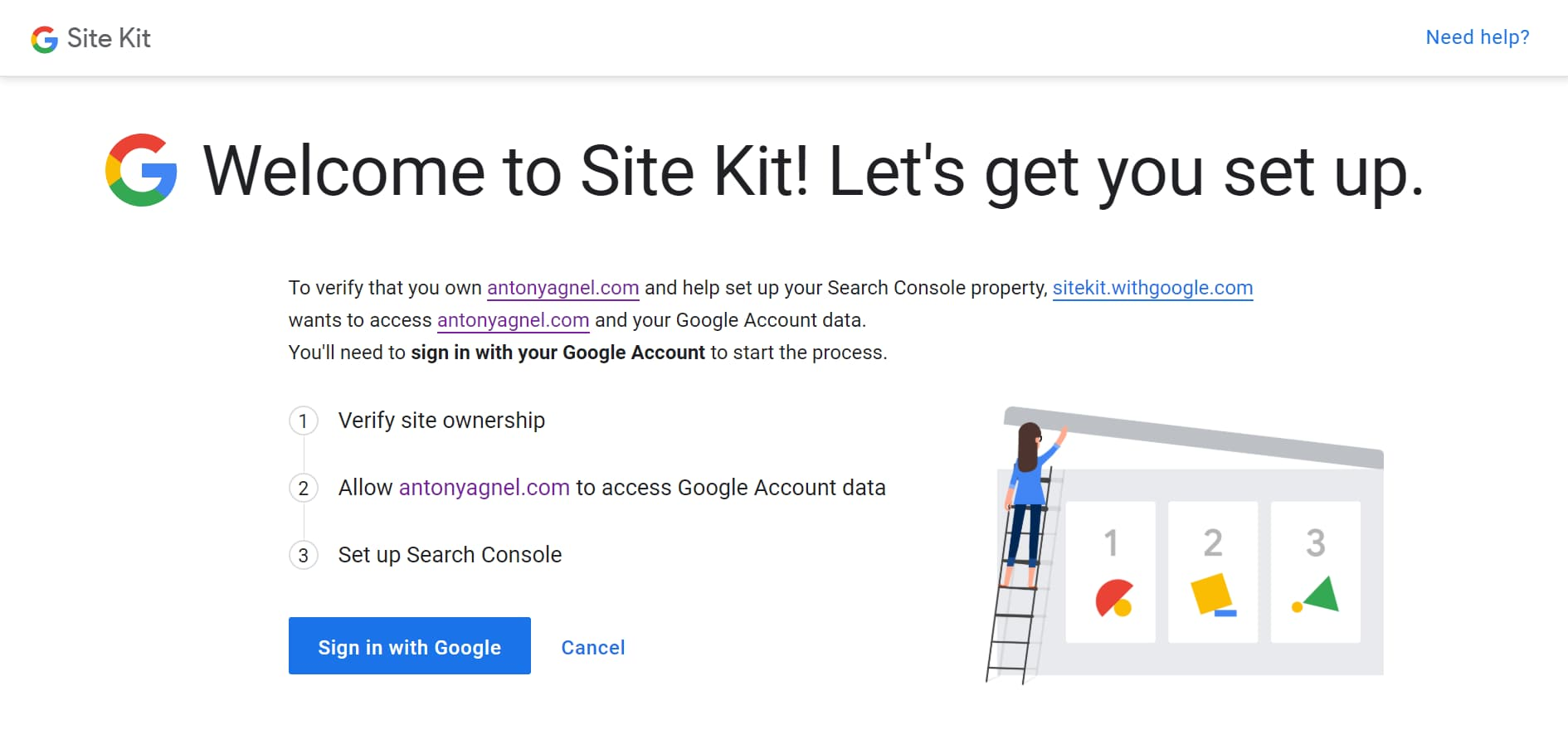 verify site ownership using google site kit