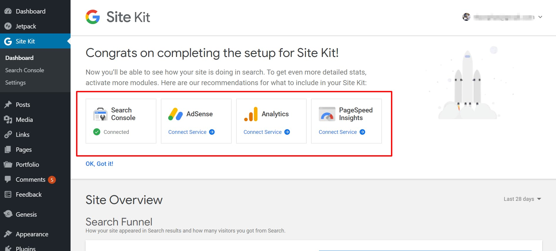 view google site kit dashboard and connect other services