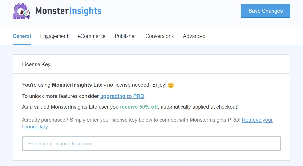 monsterinsights pro license key verification