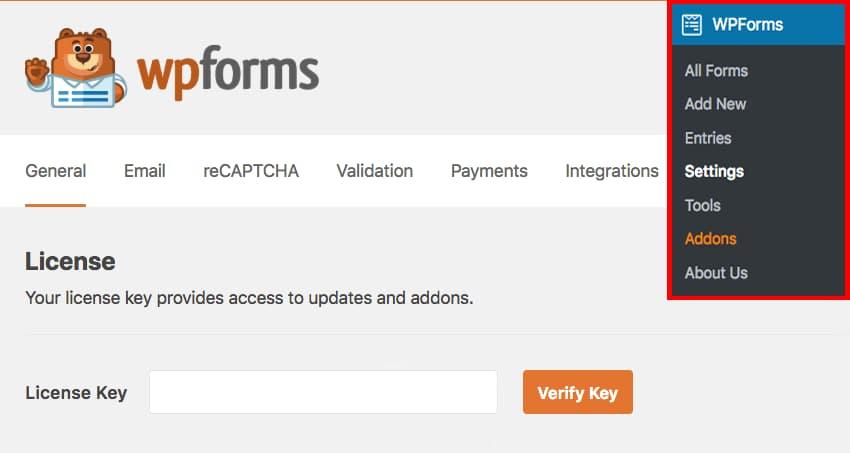 verify wpforms pro license key