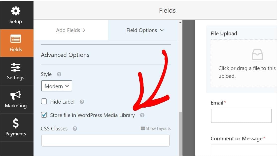 wpforms configure file upload field options
