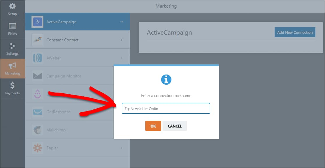 activecampaign connection nickname